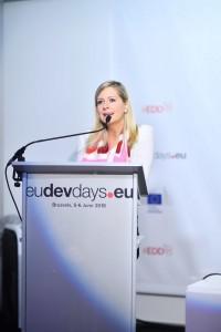 Rachel Bayani, représentante du bureau de Bruxelles de la CIB, prenant la parole lors d'un évènement parallèle le 5 juin 2018. Crédit photo : EDD 2018