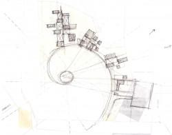 Croquis de la main de l'architecte Julian Gutierrez Chacón montrant le chemin vers la maison d'adoration, représentée par le cercle, ainsi que les bâtiments annexes du temple.