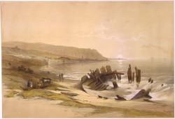 """Tableau, datant de 1839, montrant une vue de Haïfa prise du nord. La ville de Haïfa aurait été identique lorsque le navire de Bahá'u'lláh y est arrivé dans la matinée du 31 août 1868. Il y est resté quelques heures avant de monter à bord d'un voilier pour la ville prison d'Akka. (Source : David Roberts, """"Caiphas looking towards Mount Carmel"""")"""