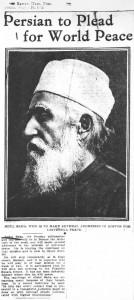 Bref rapport publié dans le « Boston Post » du 23 août 1912 notant l'intention de ʻAbdu'l-Bahá de s'exprimer sur le problème urgent de la paix.