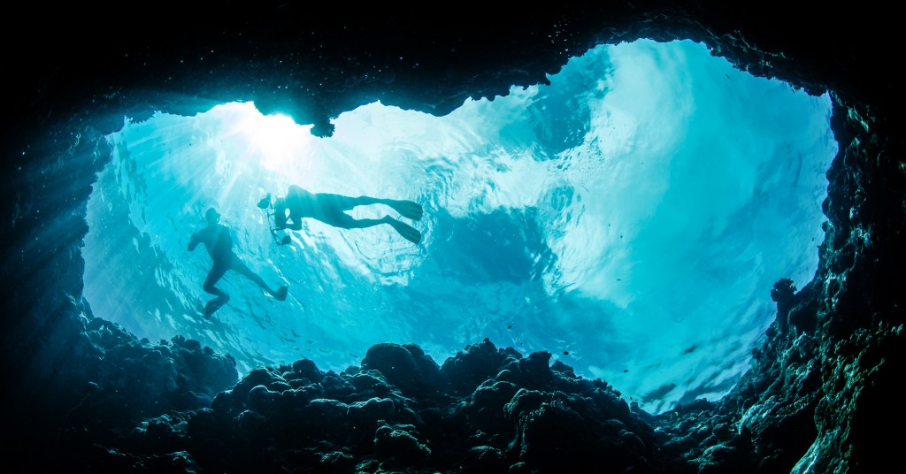 Snorkelling in the Bahamas, into the James Bond hunderball Grotto at Staniel Cay. A short boat ride from the Staniel Cay Yacht Club and Staniel cay Airport, you can fly from Florida to Bahamas with Bahamas Air Tours and the Bahamas charter flights