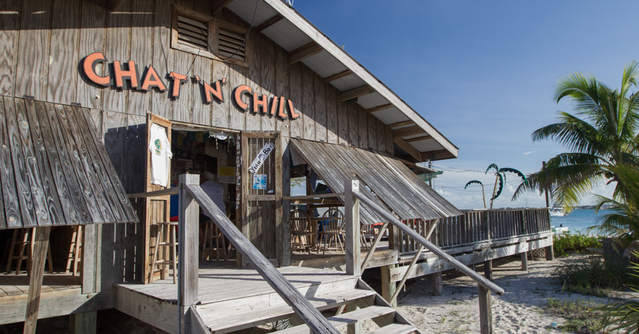Chat n Chill bar on Stocking Island, Exuma Bahamas. Island hop Bahamas with Bahamas Air Tours.