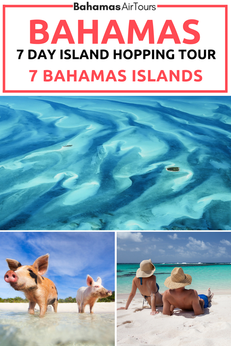 The 7 day Bahamas Island Hopping tour to 7 of the Bahamas Islands. The ultimate Bahamas Vacation is flying between the islands by plane. Experience these Bahamas Tours from Florida to Bahamas with Bahamas Air Tours, the world's first Bahamas Tour operator by plane. Visit the Bahamas Pigs, Sharks, stingrays, turtles and iguanas on our private boat excursions. Explore the best Bahamas Beaches. Learn more in our FREE Bahamas Travel Guidebook. #bahamas