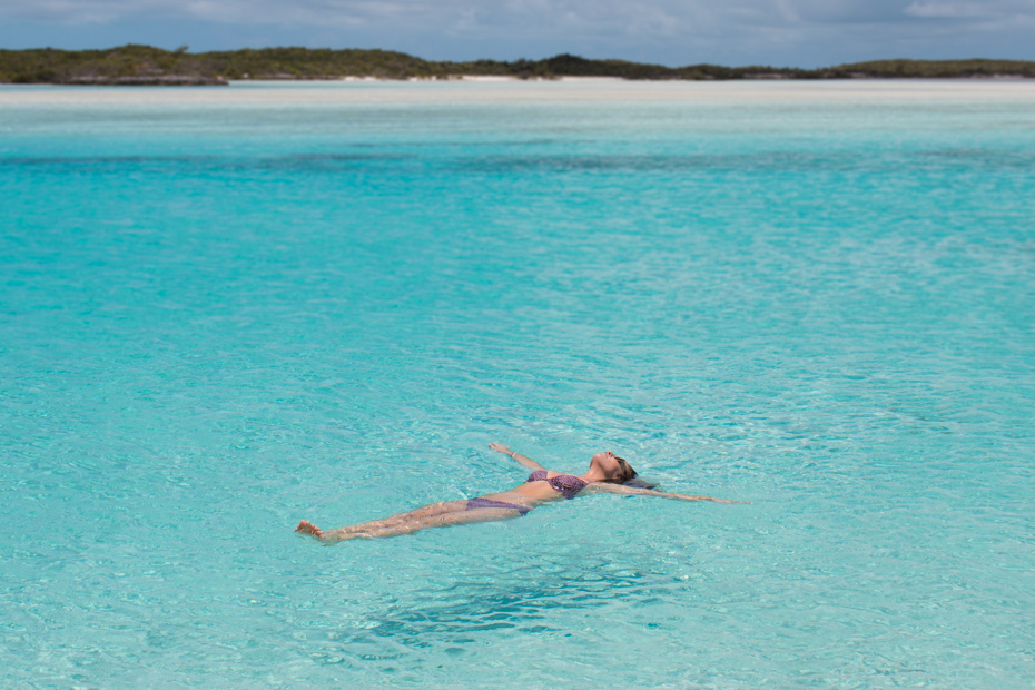 Enjoying the turquoise waters of Pipe Creek in the Exuma Cays