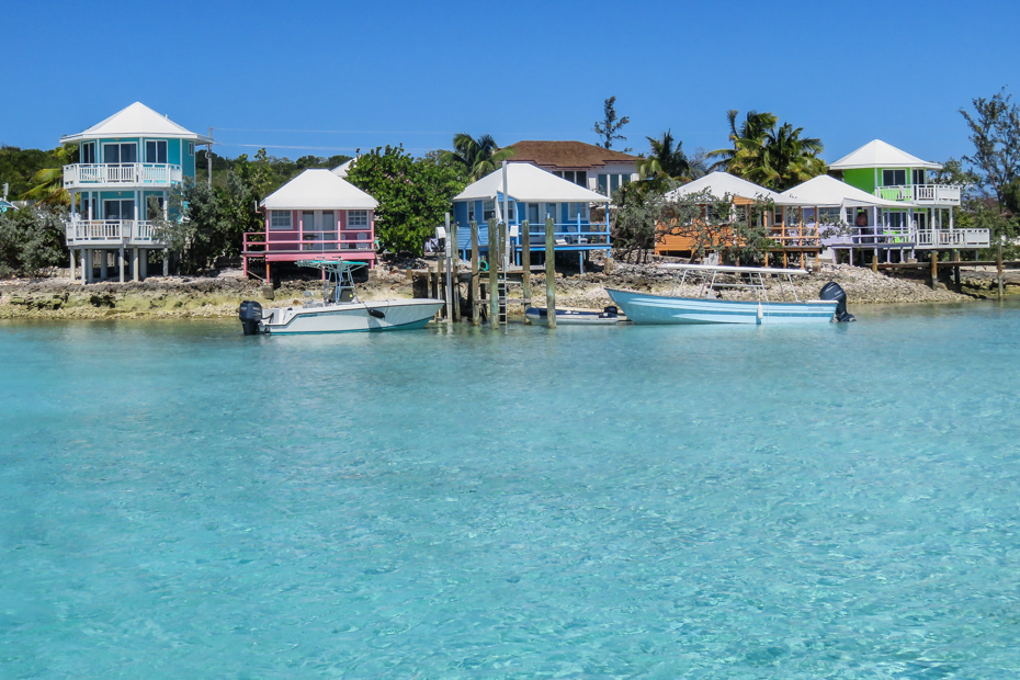The Multi-colored Bungalows of the Staniel Cay Yacht Club on Staniel Cay in the Bahamas Exumas. Staniel Cay Yacht Club SCYC is one of the best hotels in the Bahamas.