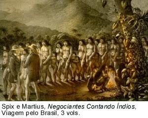 Índios aprisionados para serem vendidos como escravos. As bandeiras no sul da colônia tinham como um dos objetivos a captura de indígenas para a escravidão.