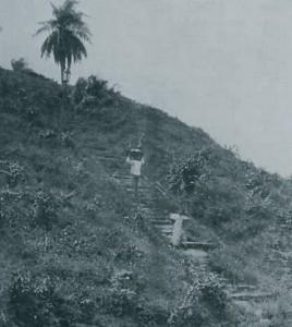 Foto feita em 1910 na parte da frente da cidade, na margem do rio