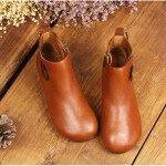 Leather Short Boots Women Casual Outdoor Soft Slip On Flat Shoes 9