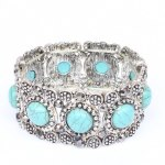 Round Faux Turquoise Carving Bracelet
