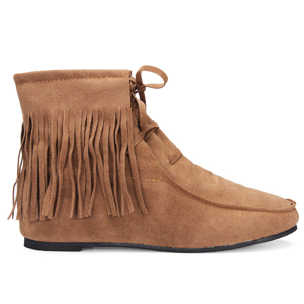Women Classic Soft Tassels Lace-up Flat Ankle Boots 4