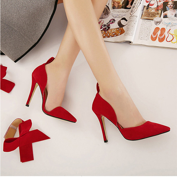 Women Fashion High Heel Suede Artificial Slip On Pointed Toe Thin Heel Pumps Shoes 5