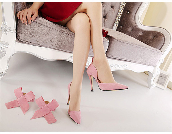 Women Fashion High Heel Suede Artificial Slip On Pointed Toe Thin Heel Pumps Shoes 6