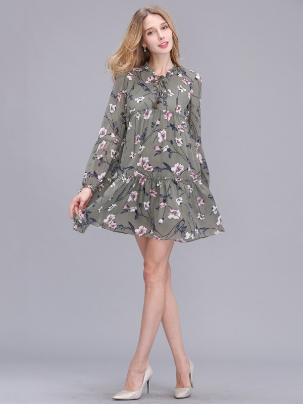 Casual Women Printing Chiffon Long Sleeve Slim Dress (3)