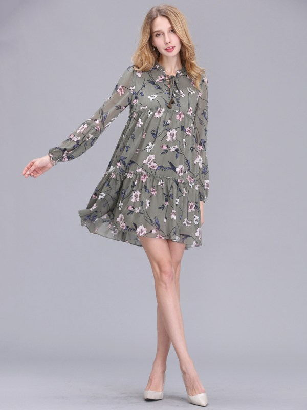 Casual Women Printing Chiffon Long Sleeve Slim Dress (4)