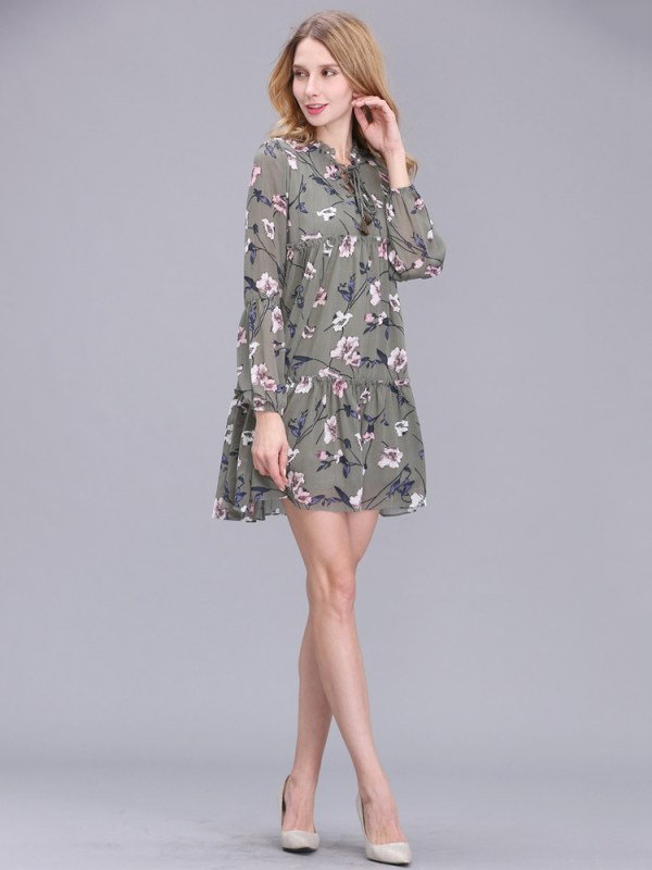 Casual Women Printing Chiffon Long Sleeve Slim Dress (5)