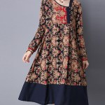 Ethnic Floral Printing Patchwork Hem Long Sleeve Loose Dress (2)