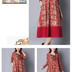 Ethnic Floral Printing Patchwork Hem Long Sleeve Loose Dress (3)