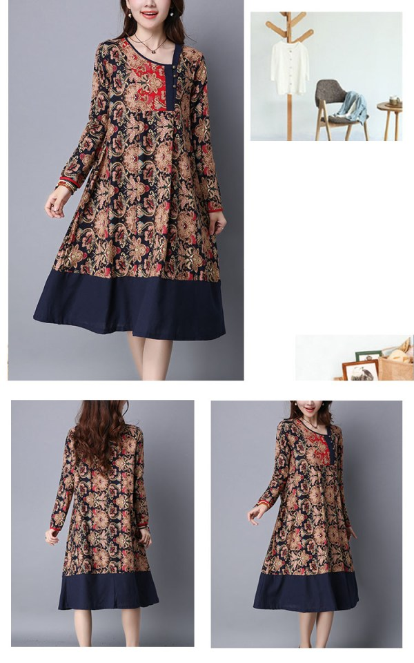 Ethnic Floral Printing Patchwork Hem Long Sleeve Loose Dress (4)