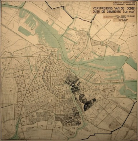 map shows the concentration of Jews in Amsterdam in May 1941
