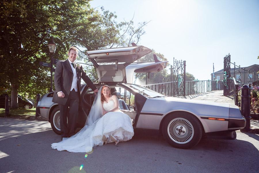 Sunshine backlit car bride