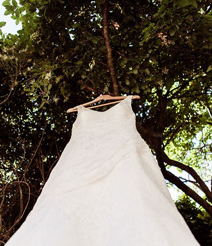 wedding dress outside