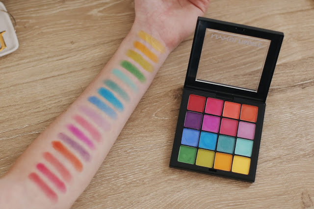 on-arm swatch of nyx ultimate brights eyeshadow palette