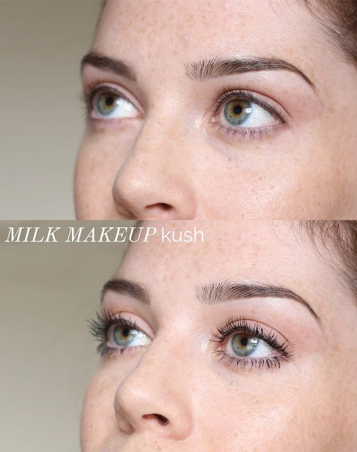 On-eye before and after swatch milk makeup kush mascara