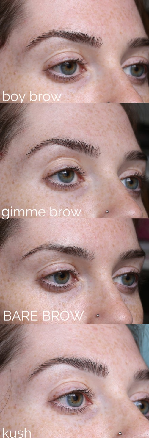 comparison of kush brow gel gimme brow and boy brow versus bare brow