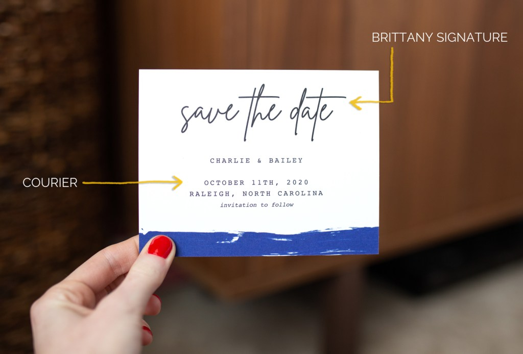 Save-the-date with the fonts used