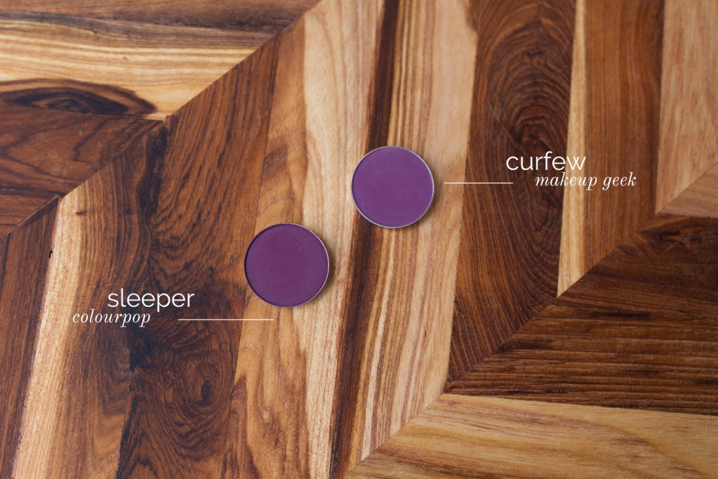 Makeup Geek Curfew and ColourPop Sleeper eyeshadows