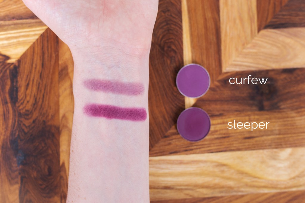 on-arm swatches of Makeup Geek Curfew and ColourPop Sleeper eyeshadows