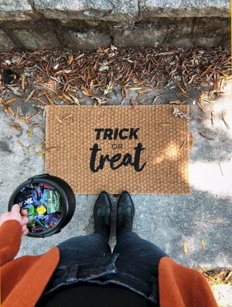 trick or treat door mat by shop bailey bee