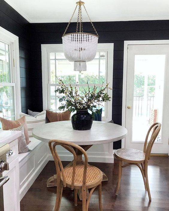 chic black and white banquet seating breakfast nook