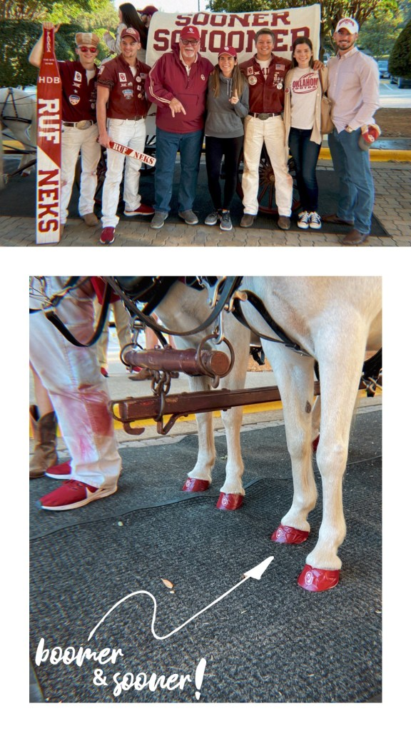 Top photo is of me and my family with the Oklahoma Sooners Ruf-Neks, bottom photo is a close-up of Oklahoma's mascot Sooner and his painted hooves.