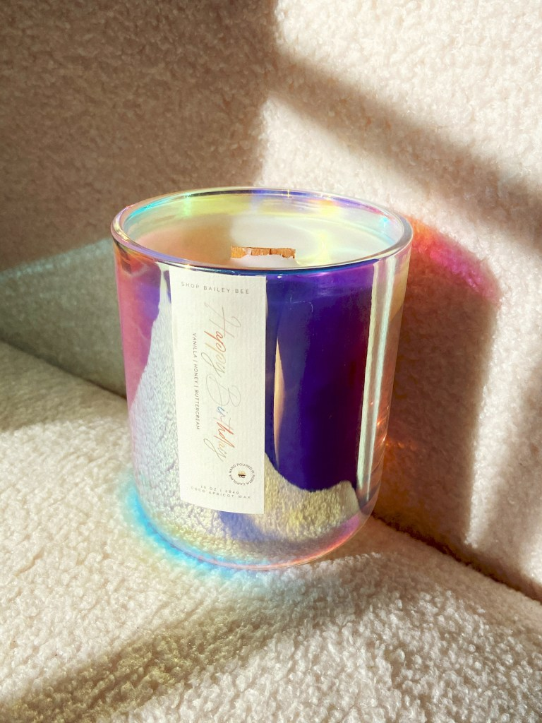 Shop Bailey Bee Happy Birthday candle in iridescent vessel