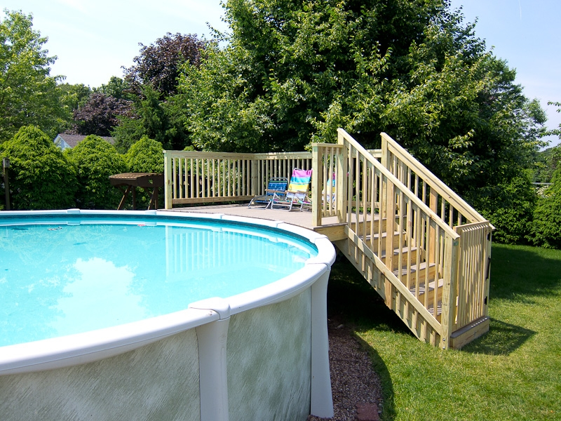 Above Ground Pool Deck And Stairs Glastonbury Ct | Pressure Treated Deck Stairs | Flared | 5 Foot | Landing | Pre Built | Simple