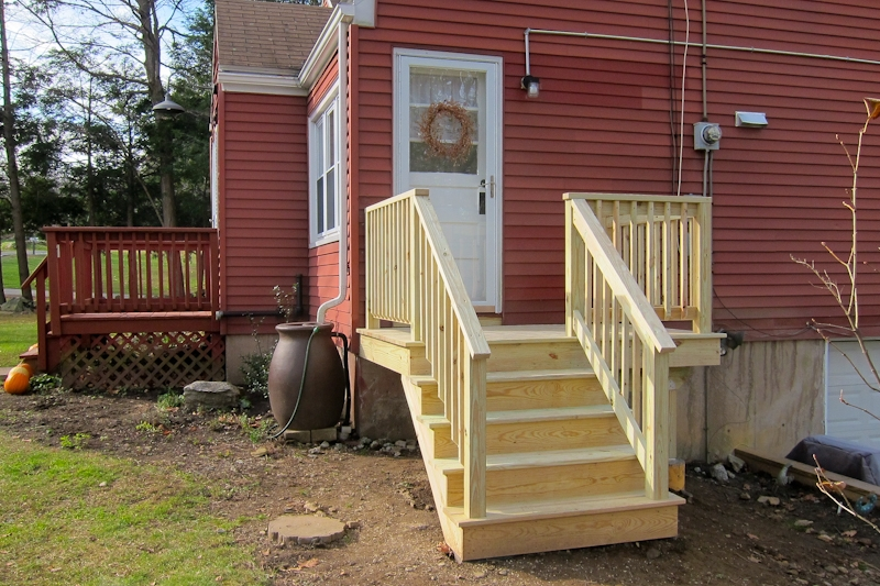 Pressure Treated Decks And Stairs Coventry Ct Deck Builder | Pressure Treated Deck Stairs | Flared | 5 Foot | Landing | Pre Built | Simple