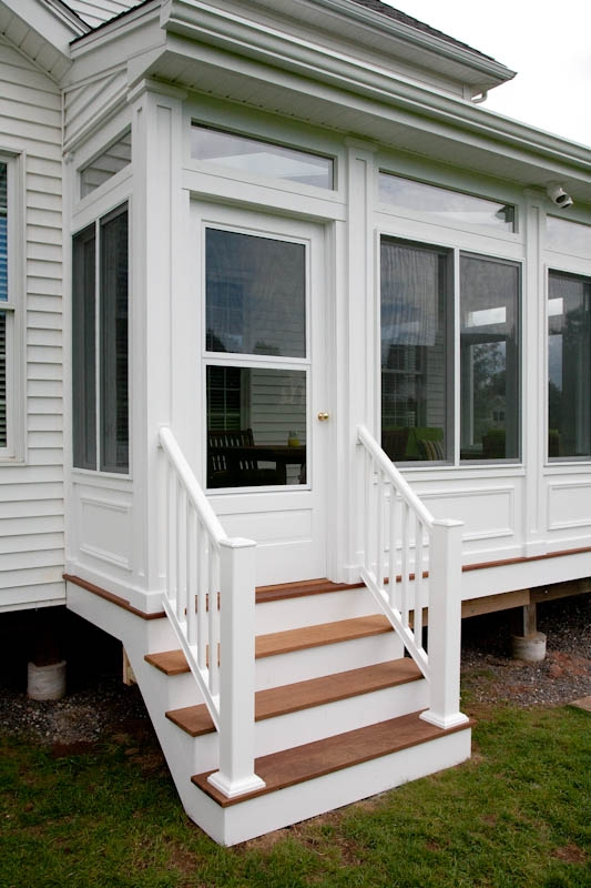 Composite Porch Stairs And Railing Ellington Ct Bailey Carpentry | Pvc Railings For Steps | 3 Step | Plastic | Corner Interior Stair | Steel Vertical Balustrade White Handrail Post | Design