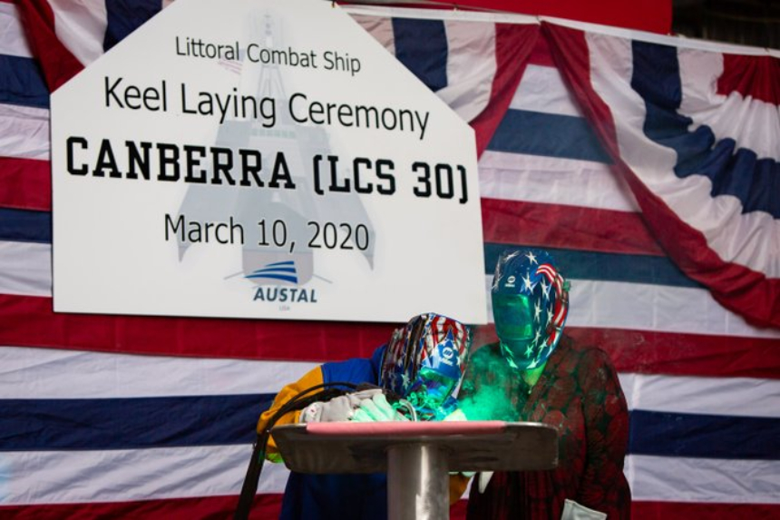 Keel laid for US Navy littoral combat ship Canberra