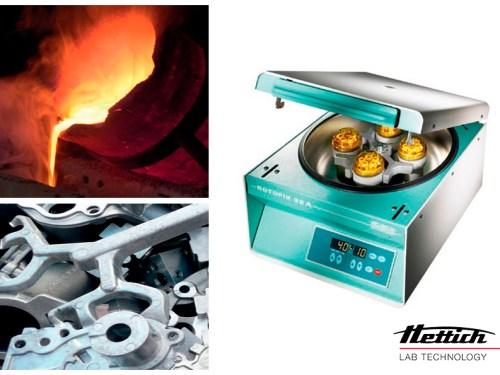 Utilización de centrifugas Hettich para la determinación del contenido de sólidos en la barbotina.