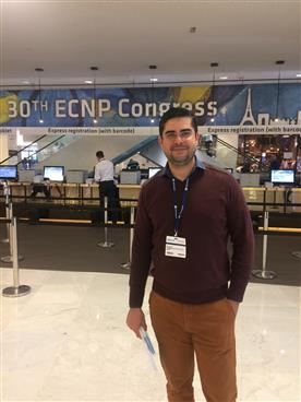 Dr. Edivarley Rodrigues da Costa Júnior no XXX Congresso ECNP, promovido pelo European College of Neuropsycho Pharmacology.