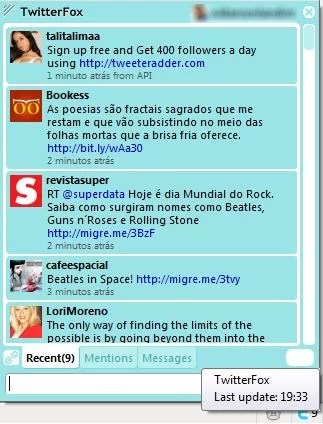Layout   padrão do TwitterFox