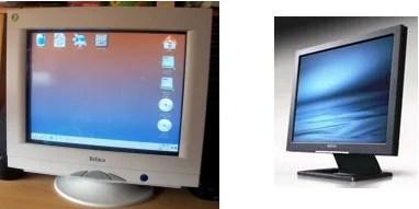 CRT e um LCD atuais.
