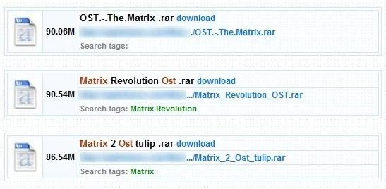 Exemplo de site pirata, com a trilha sonora da trilogia Matrix disponível para download.
