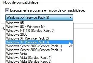 Opções de compatibilidade