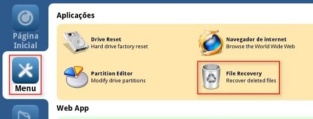 Menu > File Recovery
