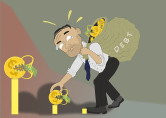 man picking flower coin graphic