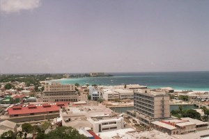 Bridgetown looking to Carlisle Bay with the Hilton Hotel in the distance. We started in front of the blue building.