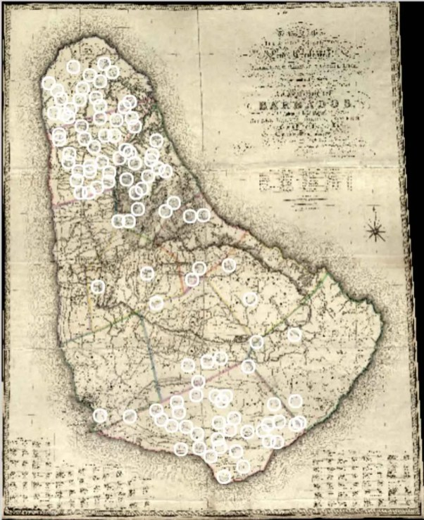 (No. 52) BALLALIER (F. DE) 1825 - Trigonometrical Survey of Barbados with an overlay showing details of 109 of the 416 estatesUCL - Legacies of British Slave-ownershipThe National Archives - Kew