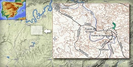 Propuesta de la situación aproximada de los acontecimientos narrados por Pierre Georges al sureste de Caspe.